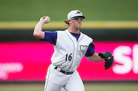 Winston-Salem Dash starting pitcher Carson Fulmer (16) makes a pick-off throw to first base against the Myrtle Beach Pelicans in game one of the Carolina League Southern Division Championship series at BB&T Ballpark on September 9, 2015 in Winston-Salem, North Carolina.  (Brian Westerholt/Four Seam Images)