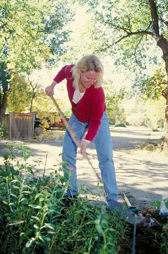 Young woman raking in her garden. women, gardening, hobbies, digging. Trina Susteric. Colorado.