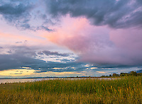 Willard Bay State Park, Utah: Sunset clouds over Willard Bay.