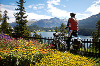 A touring cyclist at a scenic vista - Switzerland