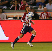 CD Chivas USA midfielder Francisco Mendoza (6) chases down a loose ball. CD Chivas USA defeated the LA Galaxy in the Super Clasico 3-0 at the Home Depot Center in Carson, CA, Thursday, September 13, 2007.