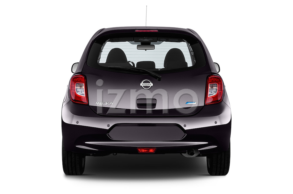 Straight rear view of a 2013 - 2014 Nissan MICRA 5 Door Hatchback 2WD