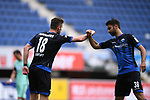 Jubel ueber das 1:1: Torschuetze Dennis Srbeny (SC Paderborn, l.) mit Sebastian Vasiliadis (SC Paderborn, r.).<br />