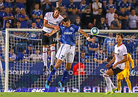 David Abraham (Eintracht Frankfurt) gegen Ludovic Ajorque (Racing Club de Strasbourg Alsace) - 22.08.2019: Racing Straßburg vs. Eintracht Frankfurt, UEFA Europa League, Qualifikation, Commerzbank Arena<br /> DISCLAIMER: DFL regulations prohibit any use of photographs as image sequences and/or quasi-video.