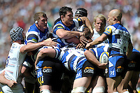 Stuart Hooper and Francois Louw of Bath Rugby corneal the maul during the Aviva Premiership Rugby Final between Bath Rugby and Saracens at Twickenham Stadium on Saturday 30th May 2015 (Photo by Rob Munro)