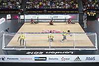 7.09.2012 London, England. Lithuania and Turkey in action in the Bronze Medal match of the Men's Goalball during Day 9 of the London Paralympics from the Copper Box