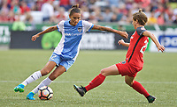 Portland, OR - Saturday August 19, 2017: Poliana Barbosa Medeiros, Meghan Klingenberg during a regular season National Women's Soccer League (NWSL) match between the Portland Thorns FC and the Houston Dash at Providence Park.