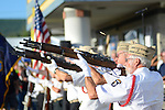 Members of the Korean War Veterans of Lycoming County, PA fire a volley in a 21 gun salute  before the start of the 2014 911 Memorial Bike Ride in Montgomery, PA.