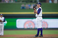 Winston-Salem Dash starting pitcher Carson Fulmer (16) looks to his catcher for the sign against the Carolina Mudcats at BB&T Ballpark on July 23, 2015 in Winston-Salem, North Carolina.  The Dash defeated the Mudcats 3-2.  (Brian Westerholt/Four Seam Images)