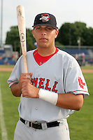 July 21 2006:  Catcher Luis Esposito of the Lowell Spinners, Class-A affiliate of the Boston Red Sox, during a game at Dwyer Stadium in Batavia, NY.  Photo by:  Mike Janes/Four Seam Images