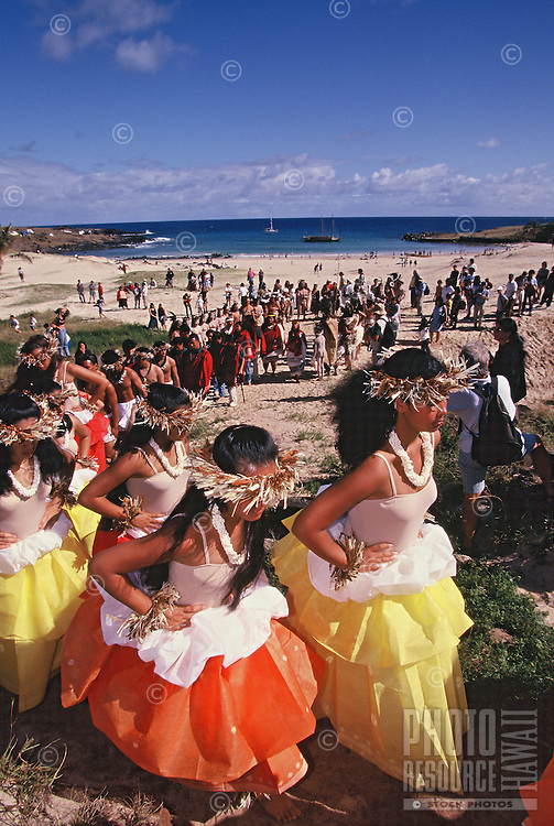 Arrival ceremonies for Polynesian voyaging canoe, Hokule'a at Anakena, Rapa Nui -.1999..