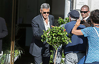 George Clooney departs by boat during the 74th Venice Film Festival at Hotel Excelsior in Venice, Italy, on 01 September 2017. - NO WIRE SERVICE - Photo: Hubert Boesl /DPA/MediaPunch ***FOR USA ONLY***