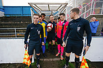 Referee Mr Storey appears with the ball to lead the teams out. Stocksbridge Park Steels v Pickering Town, Evo-Stik East Division, 17th November 2018. Stocksbridge Park Steels were born from the works team of the local British Steel plant that dominates the town north of Sheffield.<br />