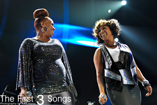 "Trecina ""Tina"" Atkins-Campbell and Erica Atkins-Campbell of Mary Mary perform at the 2012 Essence Music Festival on July 7, 2012 in New Orleans, Louisiana at the Louisiana Superdome."