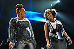 """Trecina """"Tina"""" Atkins-Campbell and Erica Atkins-Campbell of Mary Mary perform at the 2012 Essence Music Festival on July 7, 2012 in New Orleans, Louisiana at the Louisiana Superdome."""