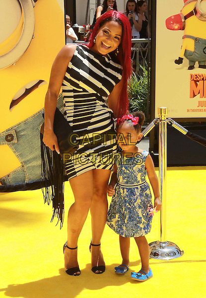 Christina Milian, Violet Madison Nash<br /> &quot;Despicable Me 2&quot; Los Angeles Premiere held at Universal CityWalk, Universal City, California, USA, 22nd June 2013.<br /> full length white striped print dress dyed red hair daughter family   black <br /> CAP/ADM/KB<br /> &copy;Kevan Brooks/AdMedia/Capital Pictures