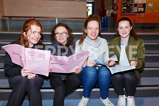 Colaiste na Sceilge Leaving Cert students all very happy with English Paper 1 pictured l-r; Fionúir O'Connor, Sharon O'Sullivan, Shannon Horgan & Michaela Reidy.