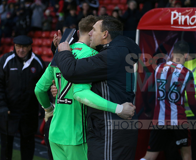 Darren Ward goalkeeping coach greets Aaron Ramsdale of Sheffield Utd during the Emirates FA Cup Round One match at Bramall Lane Stadium, Sheffield. Picture date: November 6th, 2016. Pic Simon Bellis/Sportimage