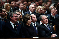 Former Florida Gov. Jeb Bush, Laura Bush and former President George W. Bush listen during a State Funeral for former President George H.W. Bush at the Washington National Cathedral, Wednesday, Dec. 5, 2018, in Washington. <br /> Credit: Alex Brandon / Pool via CNP / MediaPunch