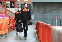 Blackpool's Ben Heneghan (right) and Oliver Turton arrive at St James Park<br /> <br /> Photographer Kevin Barnes/CameraSport<br /> <br /> Emirates FA Cup First Round - Exeter City v Blackpool - Saturday 10th November 2018 - St James Park - Exeter<br />  <br /> World Copyright &copy; 2018 CameraSport. All rights reserved. 43 Linden Ave. Countesthorpe. Leicester. England. LE8 5PG - Tel: +44 (0) 116 277 4147 - admin@camerasport.com - www.camerasport.com
