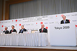 (L to R) <br /> Tsuyoshi Aoki, <br />   Yasuhiro Sato, <br /> Yoshiro Mori, <br /> Mitsunori Torihara, <br />   Koichi Miyata, <br /> APRIL 14, 2015 : <br /> Mizuho and Sumitomo Mitsui Financial Group has Press conference <br /> in Tokyo. <br /> Mizuho and Sumitomo Mitsui Financial Group announced that <br /> it has entered into a partnership agreement with <br /> the Tokyo Organising Committee of the Olympic and Paralympic Games. <br /> With this agreement, Mizuho and Sumitomo Mitsui Financial Group becomes the gold partner. <br /> (Photo by YUTAKA/AFLO SPORT) [1040]