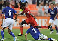 DC United forward Joseph Ngwenya (11) goes against Everton defender Leighton Baines (3)    Everton defeated DC United 3-1 in a international friendly ,at RFK Stadium, Saturday July 23, 2011.