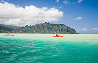 Woman paddling a red and yellow kayak and a man paddling a yellow kayak in clear blue green water over Kaneohe Bay sand bar with mountains of Kualoa in the background (Puukanehoalani Mountain)