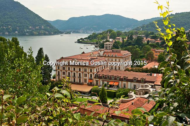 Villa d'Este hotel in the town of Cernobbio on Lake Como, Italy. The villa was originally built as the 16th century summer residence of the Cardinal of Como