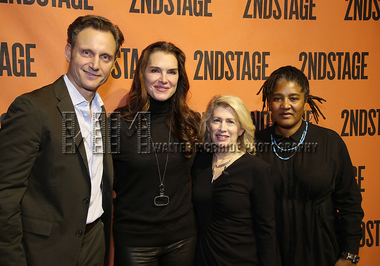 Tony Goldwyn, Brooke Shields, Carole Rothman and Lynne Nottage backstage at  the Second Stage Theater Broadway lights up the Hayes Theatre at the Hayes Theartre on February 5, 2018 in New York City.