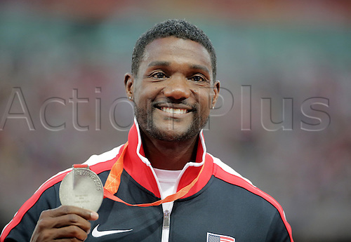28.08.2015. Birds Nest Stadium, Beijing, China.  Justin Gatlin of the USA poses with his silver medal on the podium during the medal ceremony of the men's 200m final at the Beijing 2015 IAAF World Championships at the National Stadium, also known as Bird's Nest, in Beijing, China, 28 August 2015.