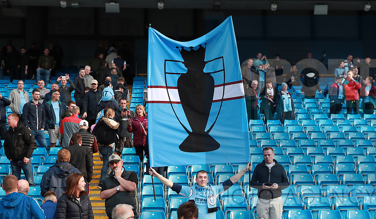 Manchester City fan with a banner during the premier league match at the Etihad Stadium, Manchester. Picture date 22nd April 2018. Picture credit should read: Simon Bellis/Sportimage