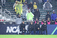 CARY, NC - DECEMBER 13: Head coach Jeremy Gunn of Stanford University watches the game with his assistants during a game between Stanford and Georgetown at Sahlen's Stadium at WakeMed Soccer Park on December 13, 2019 in Cary, North Carolina.