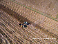 63801-08319 Corn Harvest, John Deere combine unloading corn into grain cart while harvesting - aerial Marion Co. IL