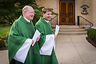 July 27, 2017; Rev. Timothy Scully, C.S.C., co-founder of the Alliance for Catholic Education (ACE) and Rev. Lou DelFra, C.S.C. enter the Basilica of the Sacred Heart for the missioning Mass. (Photo by Matt Cashore/University of Notre Dame)