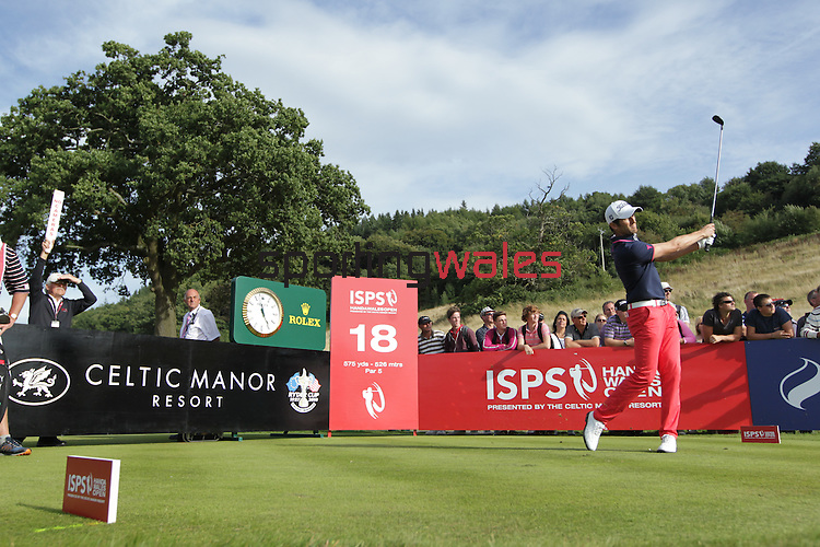 Frenchman Gregory Bourdy hits his tee shot on the 18th on his way to victory in the ISPS Handa Wales Open 2013 at the Celtic Manor Resort.<br /> <br /> 01.09.13<br /> <br /> ©Steve Pope-Sportingwales