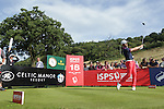 Frenchman Gregory Bourdy hits his tee shot on the 18th on his way to victory in the ISPS Handa Wales Open 2013 at the Celtic Manor Resort.<br /> <br /> 01.09.13<br /> <br /> &copy;Steve Pope-Sportingwales