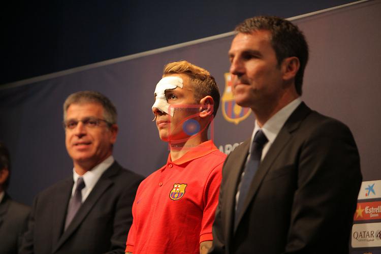 League BBVA 2016/2017.<br /> Lucas Digne presented as new player of FC Barcelona.<br /> Jordi Mestre, Lucas Digne &amp; Robert Fernandez.