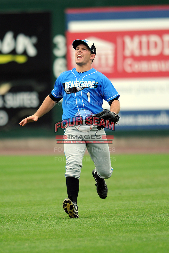Hudson Valley Renegades outfielder Johnny Field #1 during a game versus the Lowell Spinners at LeLacheur Park in Lowell, Massachusetts on August 18, 2013.  (Ken Babbitt/Four Seam Images)
