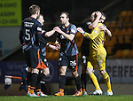 St Johnstone v Kilmarnock....09.01.16  Scottish Cup  McDiarmid Park, Perth<br /> Keeper Jamie MacDonald is moobed by his team mates at full time<br /> Picture by Graeme Hart.<br /> Copyright Perthshire Picture Agency<br /> Tel: 01738 623350  Mobile: 07990 594431