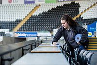 Cleaners <br /> Re: Behind the Scenes Photographs at the Liberty Stadium ahead of and during the Premier League match between Swansea City and Bournemouth at the Liberty Stadium, Swansea, Wales, UK. Saturday 25 November 2017