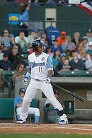 Myrtle Beach Pelicans shortstop Gleyber Torres (11) at bat during a game against the Frederick Keys at Ticketreturn.com Field at Pelicans Ballpark on April 7, 2016 in Myrtle Beach, South Carolina. Myrtle Beach defeated Frederick 5-2. (Robert Gurganus/Four Seam Images)