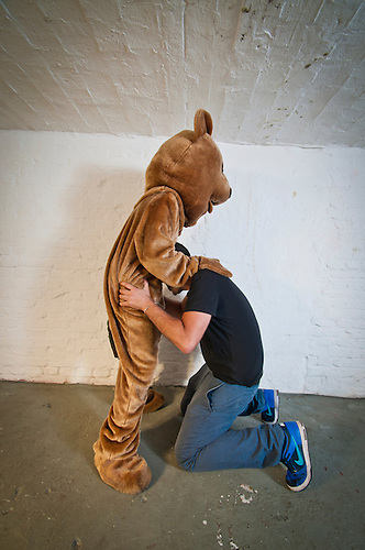 """I was commissioned to shoot portraits with a bear, as part the """"I love you"""" art project by Rosa Teixidor. . I came with all my studio flash gear to light up a quite dark celler. http://idealpaar.net/.The whole evening was a lot of fun."""