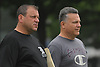 Paul Longo, Floyd head coach, right, and Wantagh head coach Keith Sachs supervise football practice at Hofstra University on Sunday, June 18, 2017. Team Long Island will face its New York City counterpart in the 22nd annual Empire Challenge at Hofstra on Wednesday, June 21 at 7:00PM.