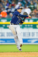 Tampa Bay Rays shortstop Yunel Escobar (11) makes a throw to first base against the Detroit Tigers at Comerica Park on June 4, 2013 in Detroit, Michigan.  The Tigers defeated the Rays 10-1.  Brian Westerholt/Four Seam Images