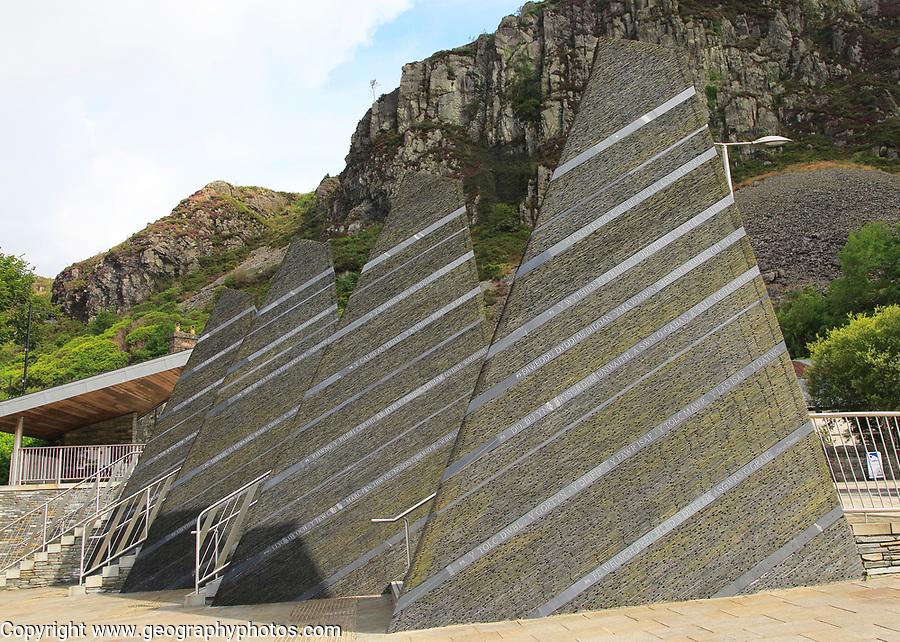 Artwork monument to slate industry heritage in Blaenau Ffestiniog, Gwynedd, north Wales, UK