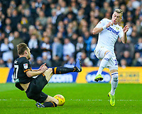 Leeds United's Ezgjan Alioski is tackled by Hull City's Todd Kane<br /> <br /> Photographer Alex Dodd/CameraSport<br /> <br /> The EFL Sky Bet Championship - Leeds United v Hull City - Saturday 29th December 2018 - Elland Road - Leeds<br /> <br /> World Copyright © 2018 CameraSport. All rights reserved. 43 Linden Ave. Countesthorpe. Leicester. England. LE8 5PG - Tel: +44 (0) 116 277 4147 - admin@camerasport.com - www.camerasport.com
