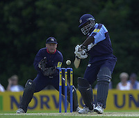 .14/07/2002 - Sport - Cricket- Norwich Union League..Middlesex Crusaders vs Gloucester Gladiators.Gloucester captain Mark Alleyne redicts the ballfor a four of the bowling  James Dalrymple