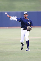 Gilbert Lara (1) of the AZL Brewers throws before a game against the AZL Athletics at Maryvale Baseball Park on June 30, 2015 in Phoenix, Arizona. Brewers defeated Athletics, 4-2. (Larry Goren/Four Seam Images)
