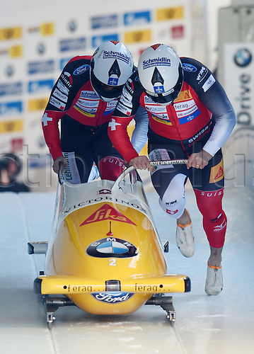 27.02.2016. Koenigssee,  Berchtesgaden, Germany. Beat Hefti and Alex Baumann of Switzerland in action during the men's two-man bobsleigh race at the Bobsleigh World Cup in Koenigssee, Germany, 27 February 2016.