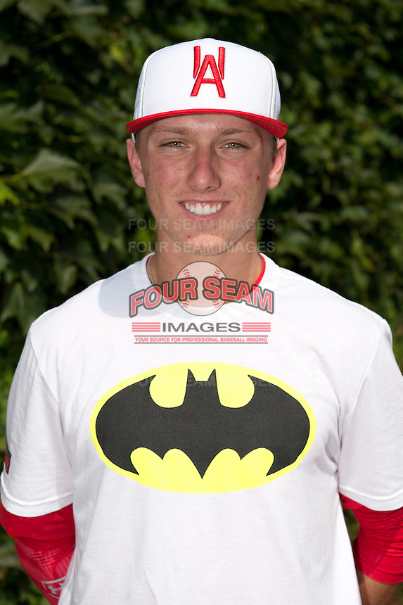 Kody Clemens (2) of Memorial High School in Houston, Texas poses for a photo during practice before the Under Armour All-American Game on August 16, 2014 at Wrigley Field in Chicago, Illinois.  (Mike Janes/Four Seam Images)